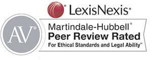 Logo Recognizing Hofmann & Schweitzer's affiliation as Martindale Hubbell Peer Review Rated
